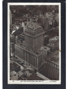 Tarjeta postal ilustrada Alemania con imagen Nueva York.  Alemania - 1931 a 1950.