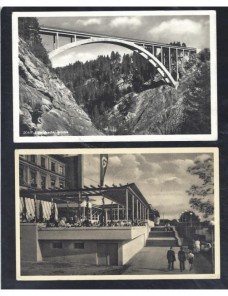 Dos tarjetas postales ilustradas Alemania arquitectura III Reich Alemania - 1931 a 1950.