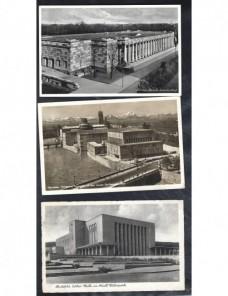 Tres tarjetas postales ilustradas Alemania arquitectura III Reich Alemania - 1931 a 1950.