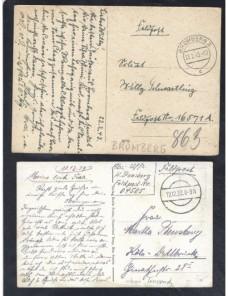 Dos tarjetas postales ilustradas Alemania correo de campaña II Guerra Mundial Potencias del eje - II Guerra Mundial.