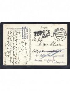 Tarjeta postal ilustrada Alemania correo de campaña II G. M. marca devolución Potencias del eje - II Guerra Mundial.