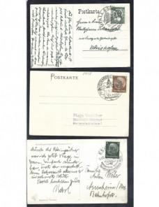 Tres tarjetas postales ilustradas Alemania matasellos especiales. Alemania - 1931 a 1950.