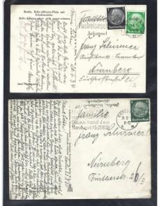 Dos tarjetas postales ilustradas Alemania matasellos especiales. Alemania - 1931 a 1950.