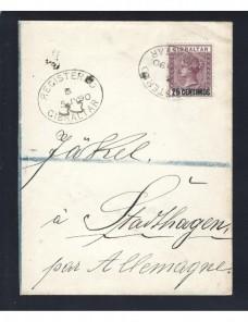 Fragmento de carta certificada Gibraltar Colonias y posesiones - Siglo XIX.