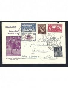Lote temático. Tema monarquía. Carta Nueva Zelanda matasellos especial.  Matasellos y franqueos mecánicos.