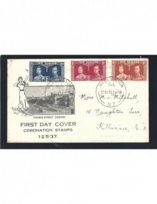 Carta Nueva Zelanda F.D.C. sellos coronación Jorge VI Otros Mundial - 1931 a 1950.