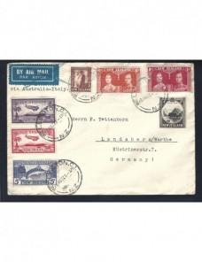 Carta correo aéreo Nueva Zelanda gran franqueo Otros Mundial - 1931 a 1950.