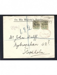 Carta certificada y oficial Sudáfrica Pretoria Colonias y posesiones - 1900 a 1930.