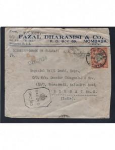 Carta comercial Kenia censura militar II Guerra Mundial Colonias y posesiones - 1931 a 1950.