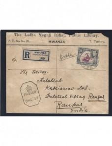 Carta certificada Uganda censura militar II Guerra Mundial Bando Aliado - II Guerra Mundial.