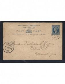 Tarjeta entero postal Seychelles marca paquebot Colonias y posesiones - Siglo XIX.