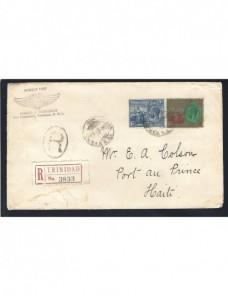 Carta certificada de Trinidad y Tobabo Colonias y posesiones - 1900 a 1930.