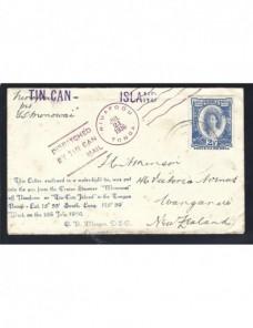 Carta de Tonga correo tin can Otros Mundial - 1931 a 1950.