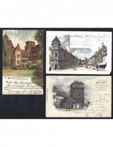 Tres tarjetas postales ilustradas Alemania a color Alemania - Siglo XIX.