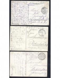 Tres tarjetas postales ilustradas Alemania correo de campaña I G. M. Imperios Centrales - I Guerra Mundial.