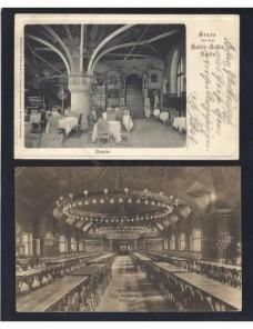 Dos tarjetas postales ilustradas Alemania restaurantes Alemania - 1900 a 1930.