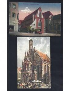 Dos tarjetas postales ilustradas Alemania Nuremberg Alemania - 1900 a 1930.