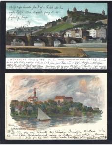 Dos tarjetas postales ilustradas Alemania a color Alemania - Siglo XIX.