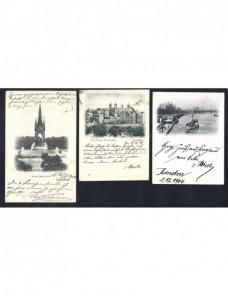 Tres tarjetas postales ilustradas Gran Bretaña Londres Gran Bretaña - Siglo XIX.