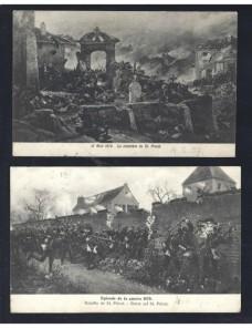 Dos tarjetas postales ilustradas Alemania Guerra Franco Prusiana Alemania - 1900 a 1930.