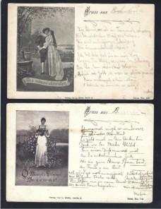 Dos tarjetas postales ilustradas Alemania escenas románticas Alemania - Siglo XIX.