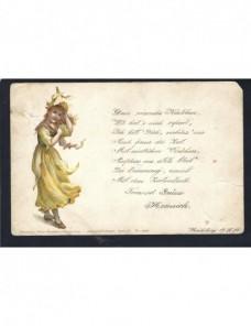Tarjeta postal ilustrada de Alemania con poesía Alemania - Siglo XIX.