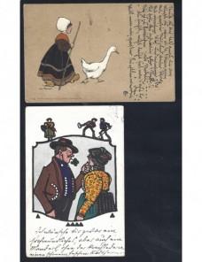 Dos tarjetas postales ilustradas Alemania escenas folklóricas Alemania - 1900 a 1930.