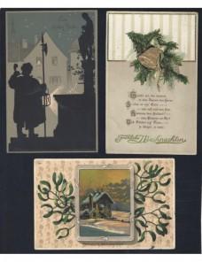 Tres tarjetas postales ilustradas Alemania Navidad Alemania - 1900 a 1930.