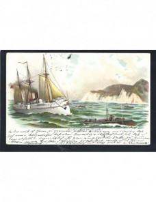 Tarjeta postal ilustrada Alemania barcos Alemania - 1900 a 1930.
