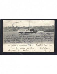 Tarjeta postal ilustrada Estados Unidos transbordador fluvial EEUU - 1900 a 1930.
