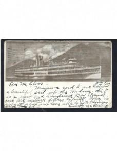Tarjeta postal ilustrada Estados Unidos barco fluvial EEUU - 1900 a 1930.