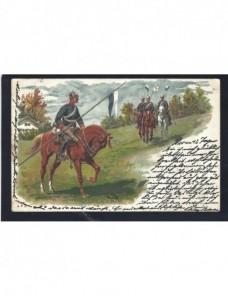 Tarjeta postal ilustrada Gran Bretaña militares a caballo Gran Bretaña - 1900 a 1930.