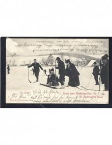Tarjeta postal Alemania fotografía esquiadores Alemania - 1900 a 1930.