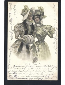Tarjeta postal ilustrada Alemania señoritas Alemania - Siglo XIX.