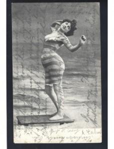 Tarjeta postal ilustrada Alemania señorita en traje de baño Alemania - 1900 a 1930.
