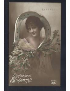 Tarjeta postal ilustrada Alemania felicitación año nuevo Alemania - 1900 a 1930.
