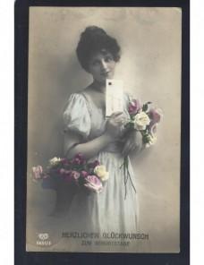 Tarjeta postal ilustrada Alemania felicitación cumpleaños Alemania - 1900 a 1930.