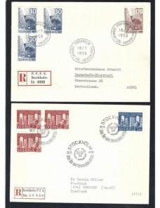 Cinco cartas certificadas Suecia matasellos especiales Otros Europa - Desde 1950.