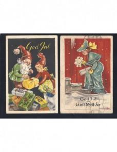 Dos tarjetas postales ilustradas Suecia Navidad Otros Europa - Desde 1950.