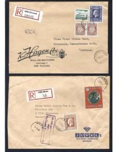 Cuatro cartas certificadas Noruega control de aduana Otros Europa - Desde 1950.