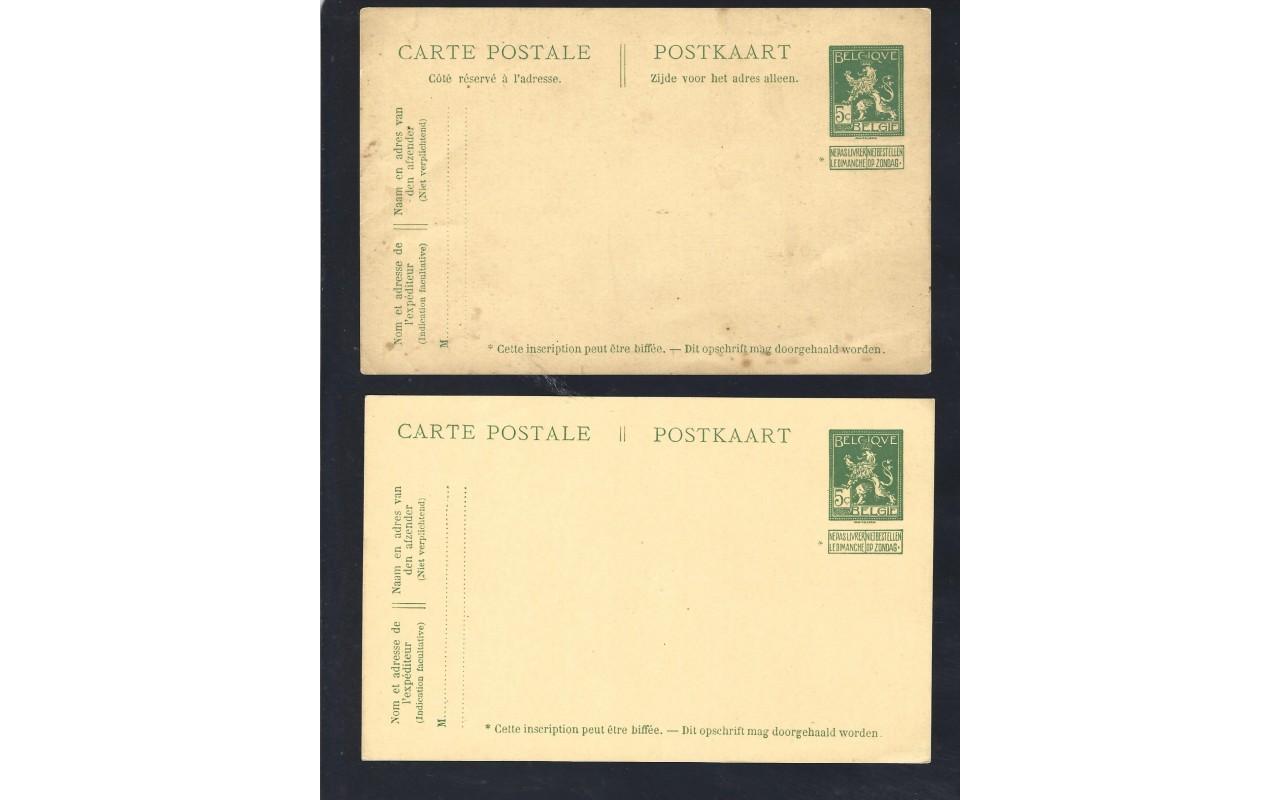 Dos tarjetas entero postales Bélgica nuevas Otros Europa - 1900 a 1930.