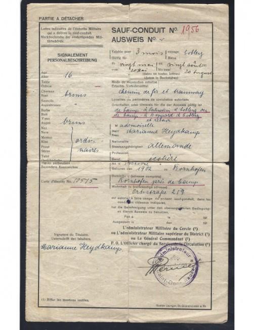 Salvoconducto militar Bélgica I Guerra Mundial Bando Aliado - I Guerra Mundial.