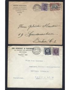 Dos cartas Bélgica matasellos de rodillo especiales Otros Europa - 1900 a 1930.