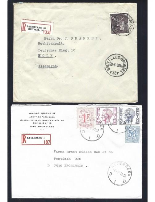 Seis cartas certificadas Bélgica distintas etiquetas Otros Europa - Desde 1950.