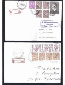 Dos cartas certificadas Bélgica control de aduana Otros Europa - Desde 1950.