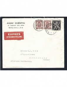 Carta urgente de Bélgica matasellos ambulante ferrocarril Otros Europa - Desde 1950.