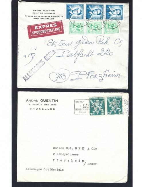 Lote temático. Tema aviación. Dos cartas Bélgica matasellos  Otros elementos temáticos.