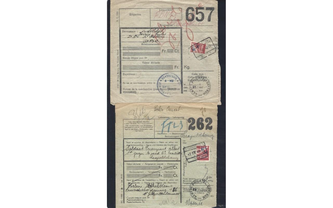 Dos boletines de expedición paquetes postales Bélgica Otros Europa - 1931 a 1950.