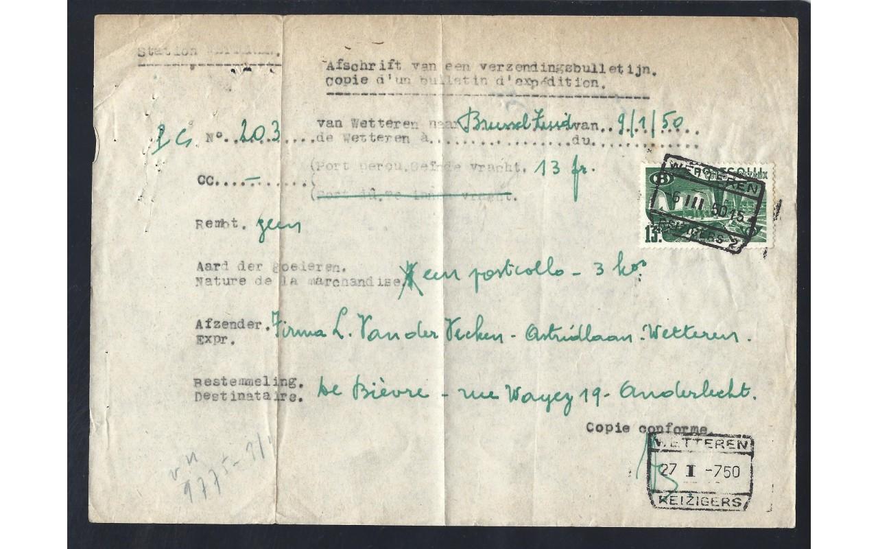 Dos boletines de expedición paquetes postales Bélgica Otros Europa - Desde 1950.