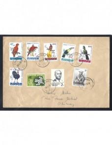 Lote temático. Tema aves. Carta Bélgica franqueo serie pájaros Sellos.